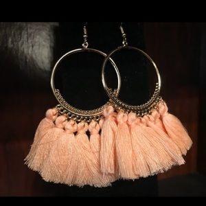 New gold peach Tassel earrings With 4in hang.NWT